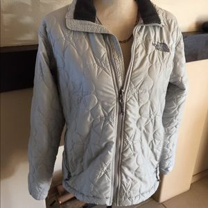 The North Face gray jacket.